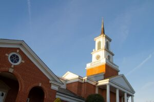 church exterior with steeple