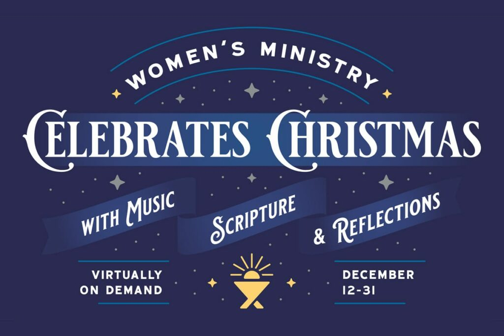 """artwork with the wording """"Women's Ministry Celebrates Christmas"""