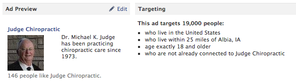 Facebook ad for Judge Chiropractic and targeting options