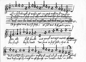 """Martin Luthers Lied """"'Ein feste Burg ist unser Gott"""" in einer eigenh‰ndigen Niederschrift von Johann Walter, dem Komponisten der Melodie und Freund Luthers (Sammelhandschrift mit 139 liturgischen St¸cken)."""
