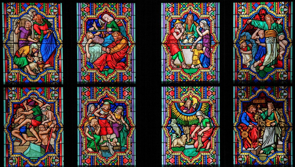 COLOGNE, GERMANY - APRIL 21, 2010: Stained Glass window depicting scenes in the Life of Moses in the Dom of Cologne, Germany. Image used by permission to Faith for Living, Inc.