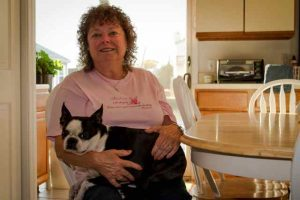 Ann Stabile with Molly in her new downstairs kitchen