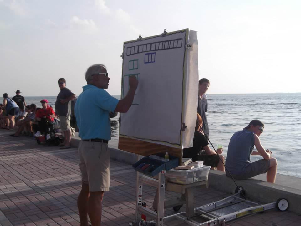 Bill Welzien prepares his presentation
