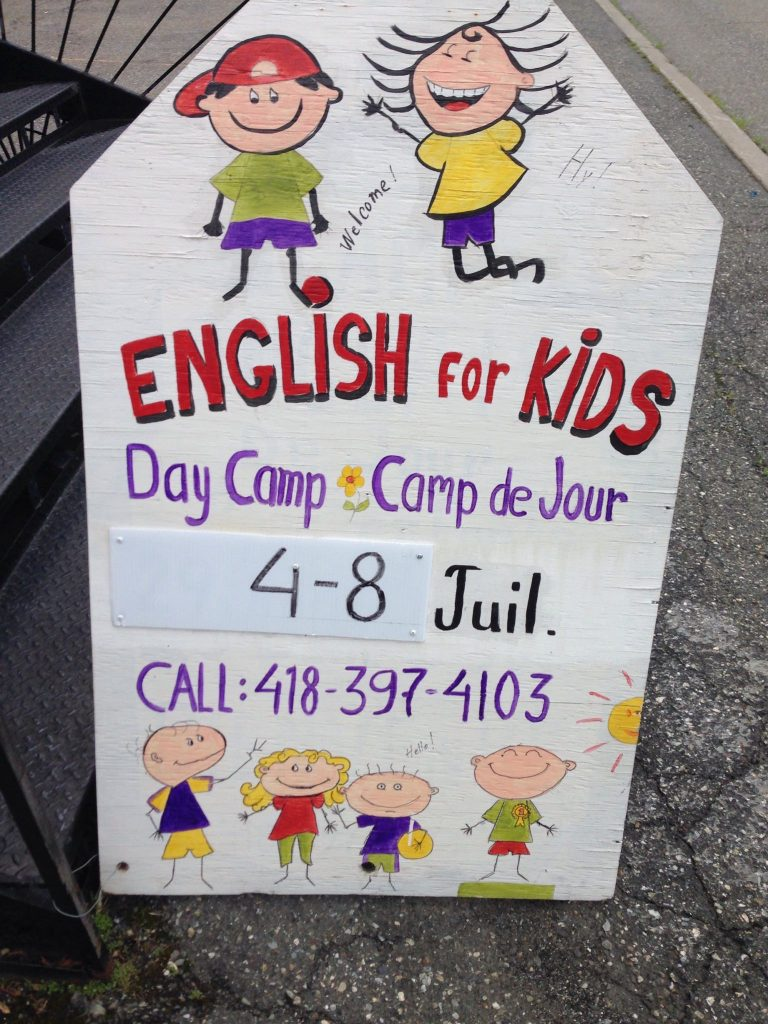 2016-07 Quebec E4K St-Georges English for Kids 2016 Sign