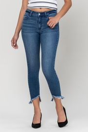 Mid Rise Cut Out Fray Crop Skinny