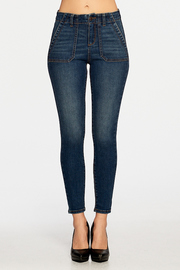 High-rise 5-pocket ankle skinny with whiskers.