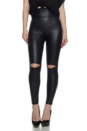 Ultra High Rise Faux leather Leggings with a banded elastic waist and knee cutouts.