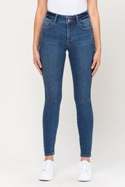 Mid Rise 2 Button Waistband Ankle Skinny Jean.