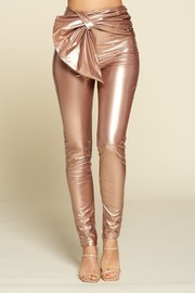 High Waist Pu Foil Skinny Pants, Cute Detailing On front.
