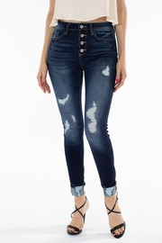 High Rise Button Fly Ankle Skinny Jeans.