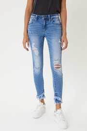 "Mid Rise Hem detail ankle skinny Jeans. Rise 8.5"" / Inseam 27"""