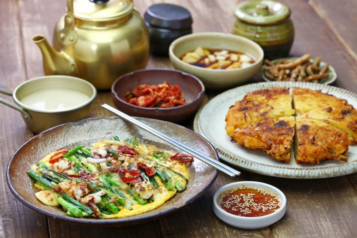 bindaetteok and pajeon, korean pancake