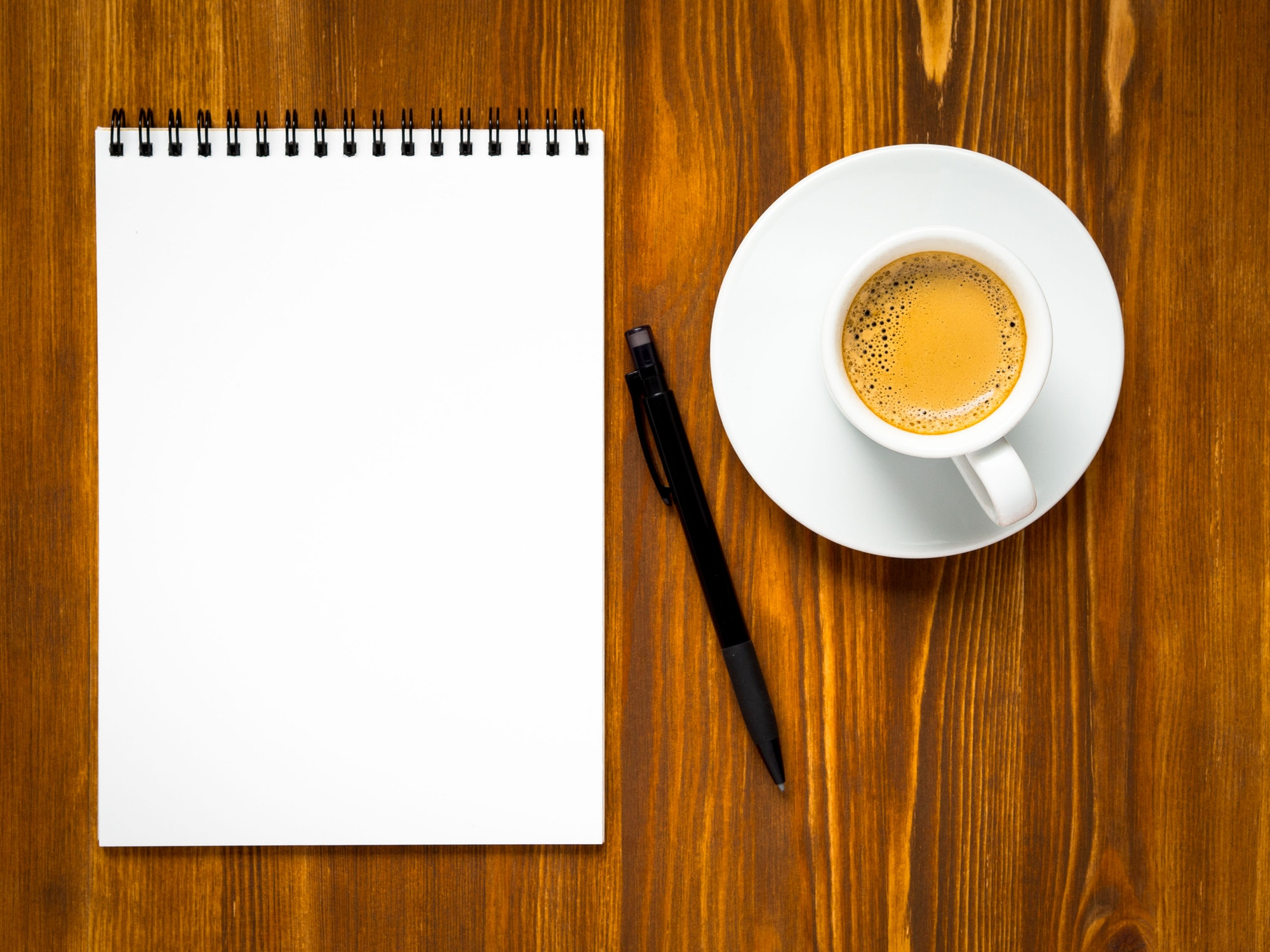 Notepad open with blank page for writing idea or to-do list