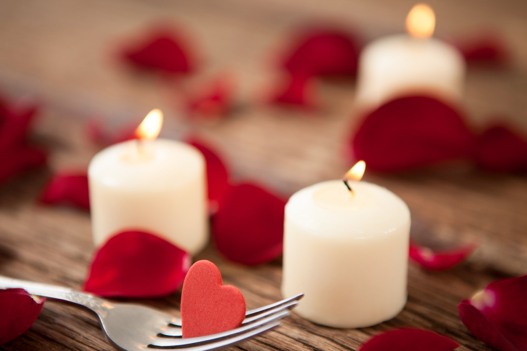 Wax candles surrounded with rose petals