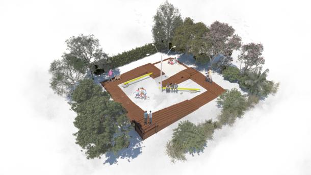 PLAZA ANGULAR / Una nueva plaza para la villa las Camelias.