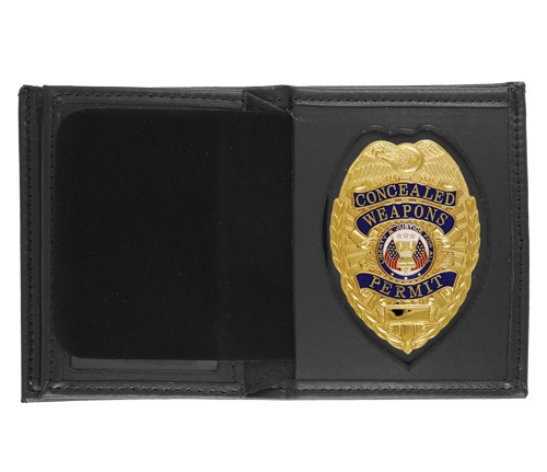 Bifold Leather Badge & ID Wallet with Pointed Shield Cutout