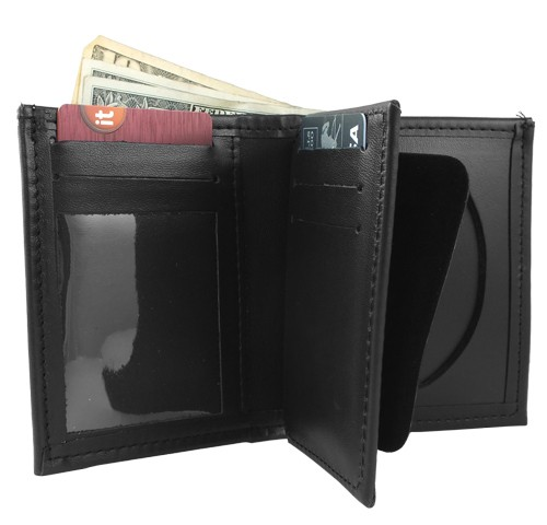 Bifold Leather Badge & ID Wallet (credit card slot view)