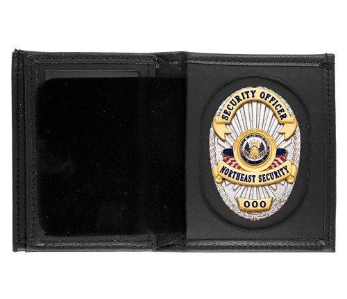 Bifold Leather Badge & ID Wallet with Universal Cutout
