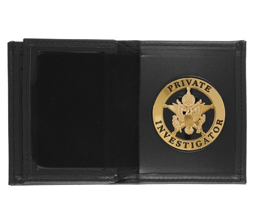 Bifold Leather Badge & ID Wallet with 2 1/4'' Round Cutout