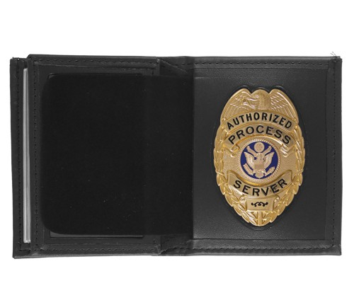 Bifold Leather Badge & ID Wallet with Oval Shield Cutout