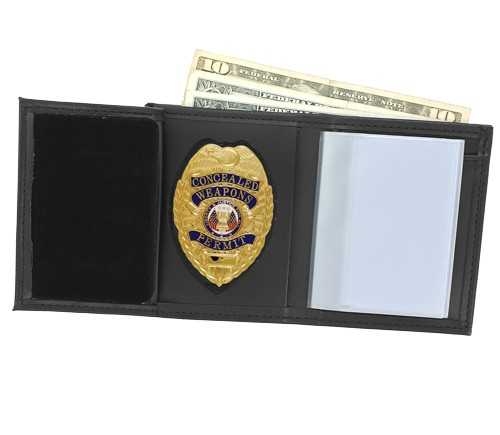 Trifold Leather Badge & ID Wallet with Pointed Shield Cutout