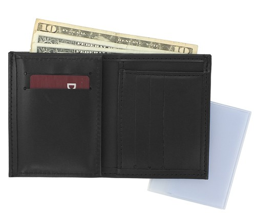 Trifold Leather Badge & ID Wallet (credit card view)