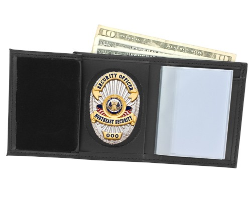 Trifold Leather Badge & ID Wallet with Universal Cutout