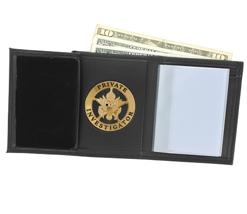 Trifold Leather Badge & ID Wallet with 2 1/4'' Round Cutout