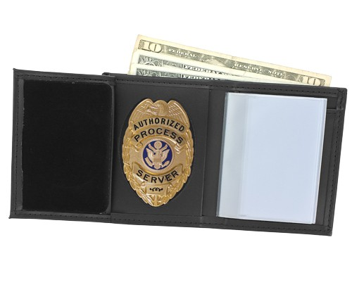 Trifold Leather Badge & ID Wallet with Oval Shield Cutout