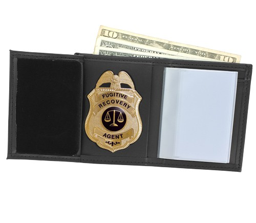 Trifold Leather Badge & ID Wallet with Metro Shield Cutout