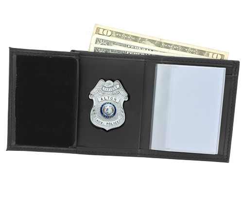 Trifold Leather Badge & ID Wallet with Custom Cutout