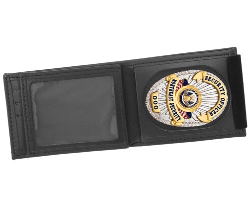Leather Badge, ID & Credit Card Wallet with Universal Cutout