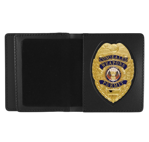 Leather ID & Badge Case with Pointed Shield Cutout