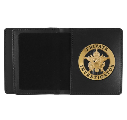 Leather ID & Badge Case with 2 1/4'' Round Cutout