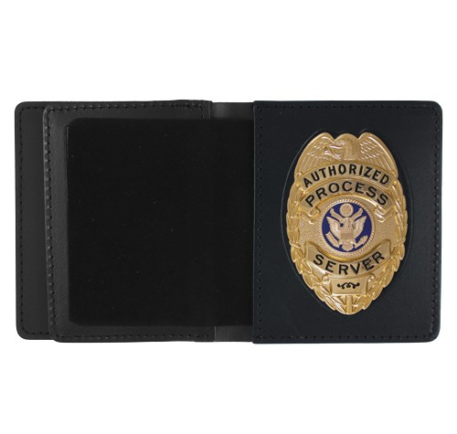 Leather ID & Badge Case with Oval Shield Cutout
