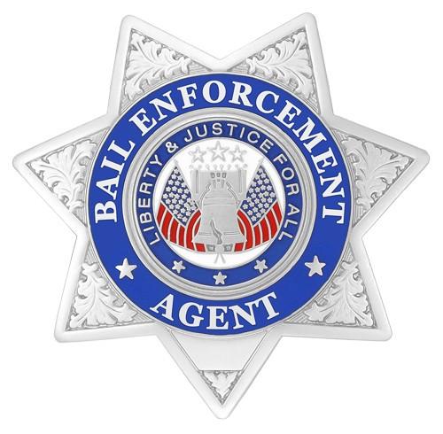 7 Point Bail Enforcement Agent Badge Silver
