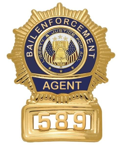 Sunburst Semi Custom Bail Enforcement Agent Badge