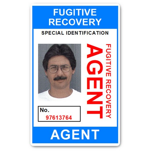 Fugitive Recovery Agent PVC ID Card BFP013 in Light Blue