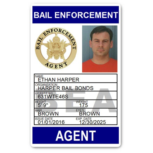Bail Enforcement Agent PVC ID Card BFP014 in Blue
