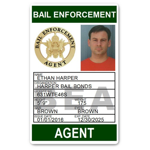 Bail Enforcement Agent PVC ID Card BFP014 in Green