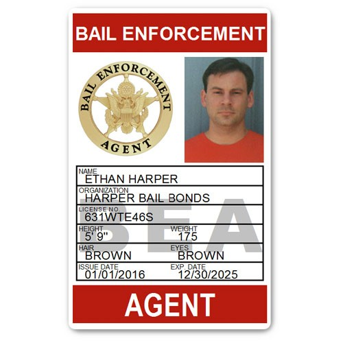 Bail Enforcement Agent PVC ID Card BFP014 in Red