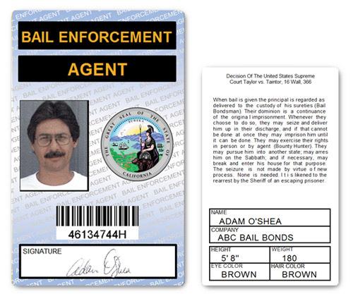 Bail Enforcement Agent PVC ID Card in Blue