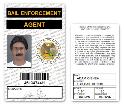 Bail Enforcement Agent PVC ID Card in White