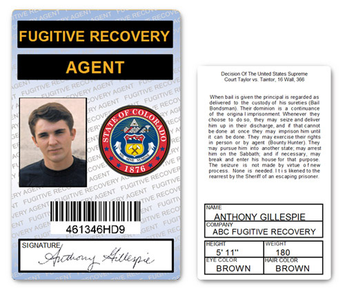 Fugitive Recovery Agent PVD ID Card in Blue