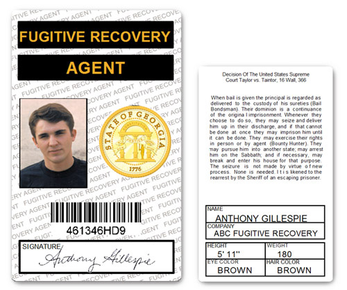 Fugitive Recovery Agent PVD ID Card in White