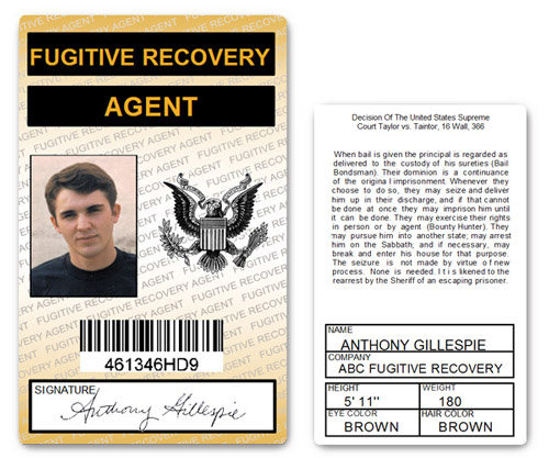 Fugitive Recovery Agent PVD ID Card