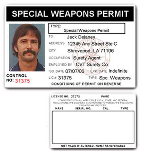 Special Weapons Permit PVC ID Card