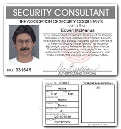 Security Consultant PVC ID Card