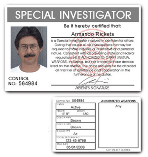 Special Investigator PVC ID Card C13PVC