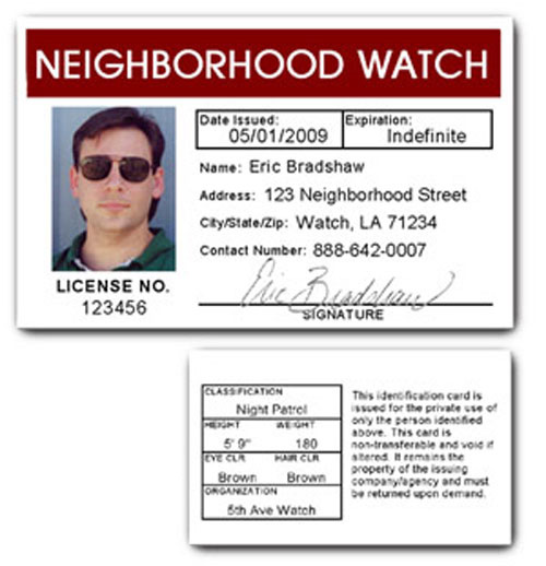 Neighborhood Watch PVC ID Card